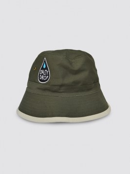 CP76_LOGO GREEN-CREAM REVERSIBLE BUCKET HAT